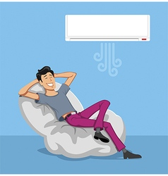 Happy Man Relax with Air conditioner vector