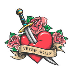 heart pierced dagger with wording never again vector image