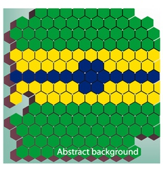 Hexagon in Brazil flag concept vector