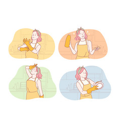 Housemaid or housekeeper set concept vector