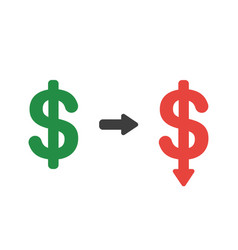 icon concept of dollar symbol arrow moving down vector image