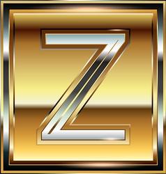 Ingot Font Letter Z vector image