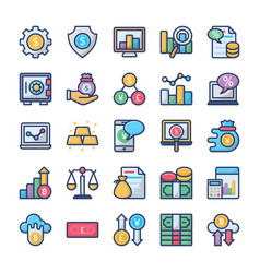 investments and finance icons bundle vector image