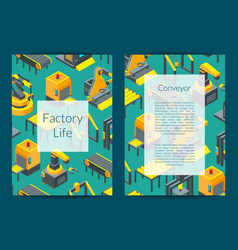 isometric conveyor elements card vector image