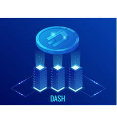 isometric dash cryptocurrency mining farm vector image