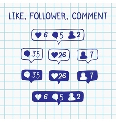 Like follower comment icons on notebook sheet vector