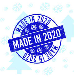 Made in 2020 scratched round stamp seal for vector