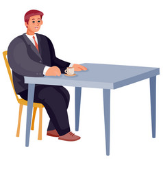 Man sitting alone at square table loneliness vector