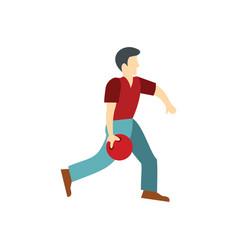 Man throws a bowling ball vector