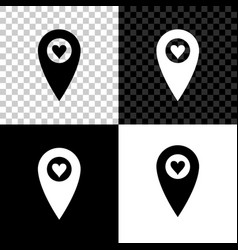 map pointer with heart icon isolated on black vector image