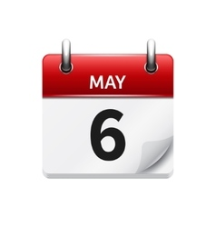 May 6 flat daily calendar icon Date and vector