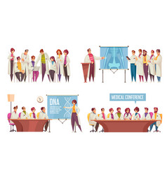 Medical conference composition set vector