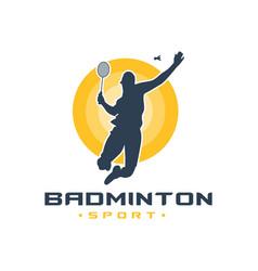 Mens badminton sports logo vector