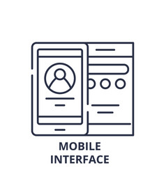 mobile interface line icon concept mobile vector image