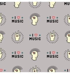 Music seamless pattern Punk Mohawk Rock Grunge vector image