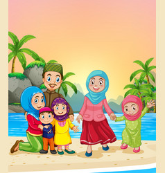 Muslim family at beach vector