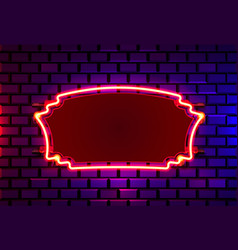 Neon frame on a brick colored wall template vector