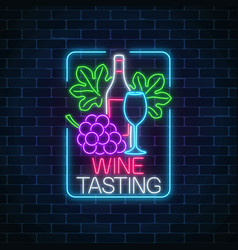 neon glowing sign of wine tasting in rectangle vector image