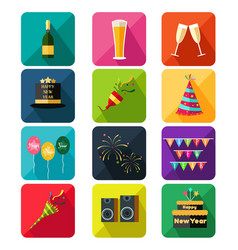 new year party icons vector image