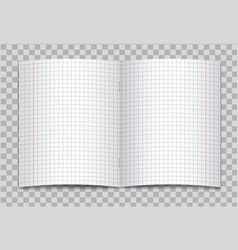 Opened realistic squared school copybook vector
