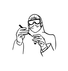 outline character doctor vector image