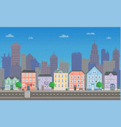 Pixel art empty city low-rise vector