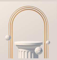 Podium with golden arch for product presentation vector