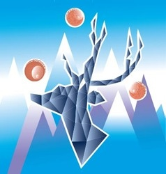 polygonal deer in the mountains vector image