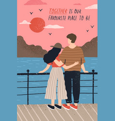 postcard template with adorable couple in love vector image