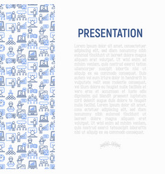 Presentation concept with thin line icons vector