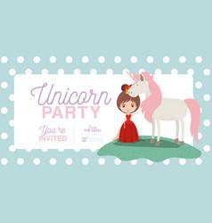 Princess with unicorn invitation card vector
