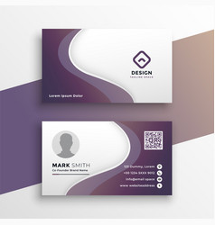 purple wavy business card design template vector image