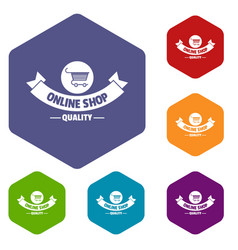 Quality shop icons hexahedron vector