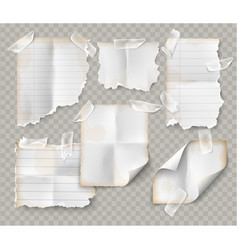 realistic set vintage torn sheet notebook paper vector image