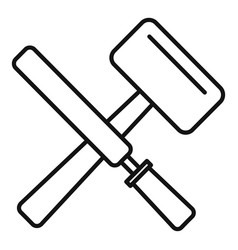 reconstruction hammer tools icon outline style vector image
