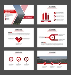 Red presentation templates Infographic elements vector