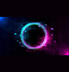retrowave glitch circle with sparkling and blue vector image