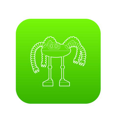robot octopus icon green vector image