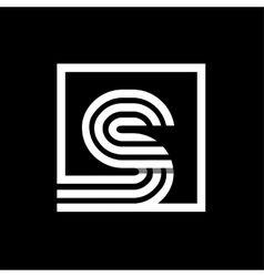 S capital letter made of stripes enclosed in a vector image
