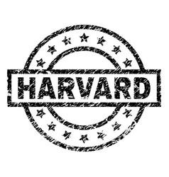 Scratched textured harvard stamp seal vector