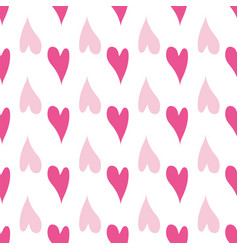 seamless pattern pink hearts on a white vector image