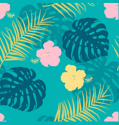 seamless pattern with hibiscus and palm leaves vector image