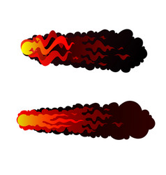 Set abstract red fireball meteor cannonball vector