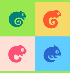 Set chameleon logo vector