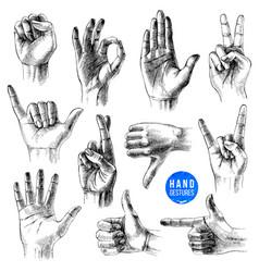 set different hand drawn gestures vector image
