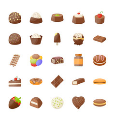 Set of assorted chocolates icons vector