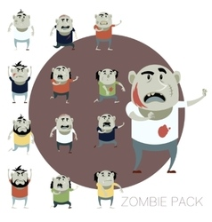 Set of zombie cartoon icons vector image