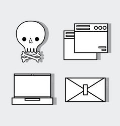 set technology skull with bones and computer vector image