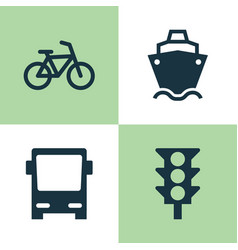 Shipment icons set collection of stoplight vector