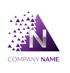 silver letter n logo in the purple pixel triangle vector image
